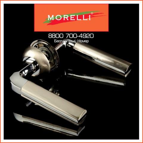 Дверные Ручки Morelli MH-11 SN/CP Цвет Белый Никель/Хром