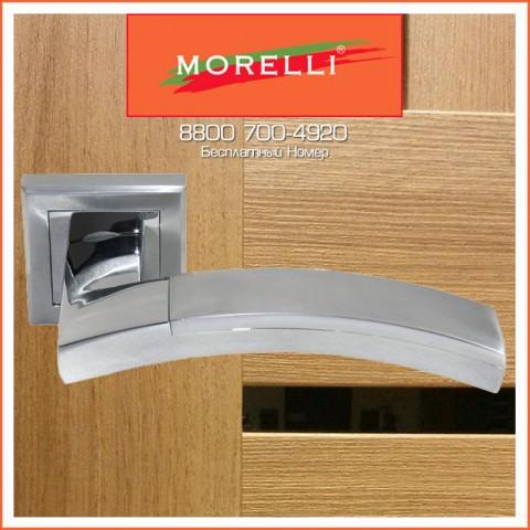 Дверные Ручки Morelli MH-17 SC/CP-S Цвет Матовый Хром и Полированный Хром