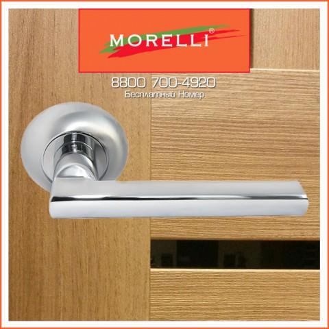 Дверные Ручки Morelli MH-25 SC/CP Цвет Матовый Хром и Полированный Хром
