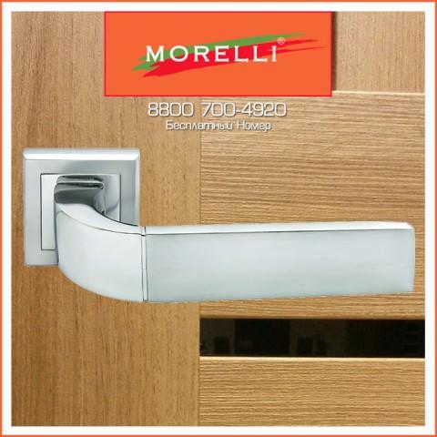 Дверные Ручки Morelli MH-27 SC/CP-S Цвет Матовый Хром и Полированный Хром