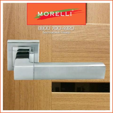Дверные Ручки Morelli MH-28 SC/CP-S Цвет Матовый Хром и Полированный Хром