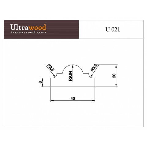 Молдинг UltraWood U 021 (20х40х2440)
