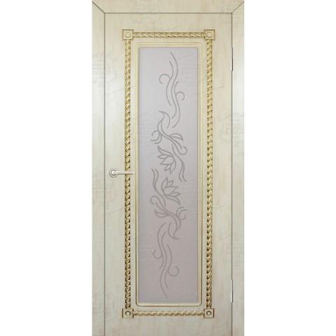 Межкомнатная Дверь (ЧФД) Кардинал Стекло Белое с Гравировкой (Патина с одной стороны)