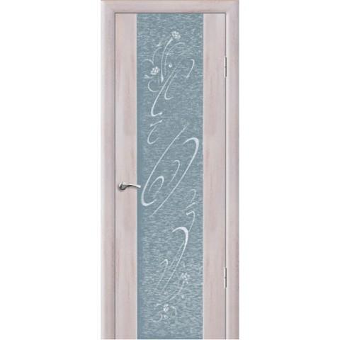 Межкомнатная Дверь Геона. Люкс 1 Остекленная Триплекс с Тканью с Рисунком со Стразами