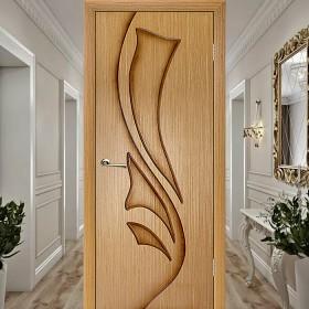 Эксклюзив (Глухая) Лилия - Шпонированная Межкомнатная Дверь Дуб