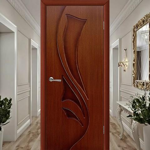 Эксклюзив (Глухая) Лилия - Шпонированная Межкомнатная Дверь Макоре
