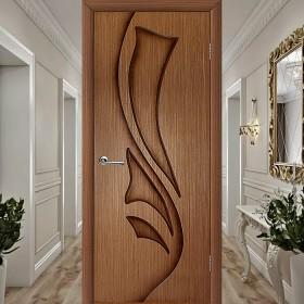 Эксклюзив (Глухая) Лилия - Шпонированная Межкомнатная Дверь Орех