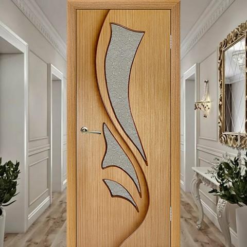 Шпонированная Межкомнатная Дверь Остекленная Эксклюзив (Лилия) Дуб