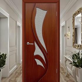 Шпонированная Межкомнатная Дверь Остекленная Эксклюзив (Лилия) Макоре