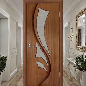 Шпонированная Межкомнатная Дверь Остекленная Эксклюзив (Лилия) Орех