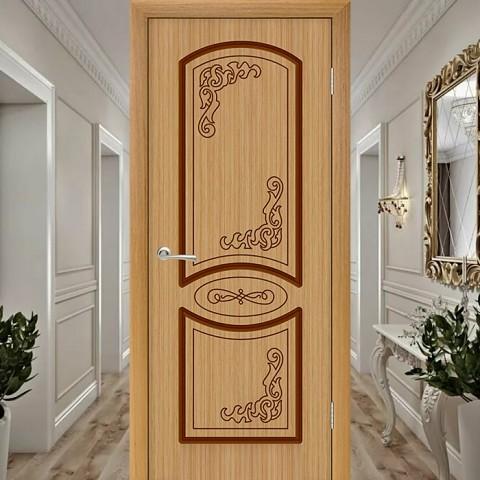 Муза (Глухая) - Шпонированная Межкомнатная Дверь Дуб