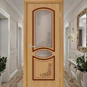 Шпонированная Межкомнатная Дверь Остекленная Муза Дуб