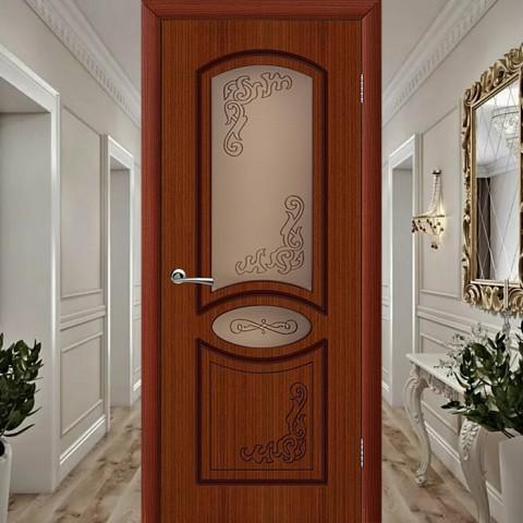 Шпонированная Межкомнатная Дверь Остекленная Муза Макоре