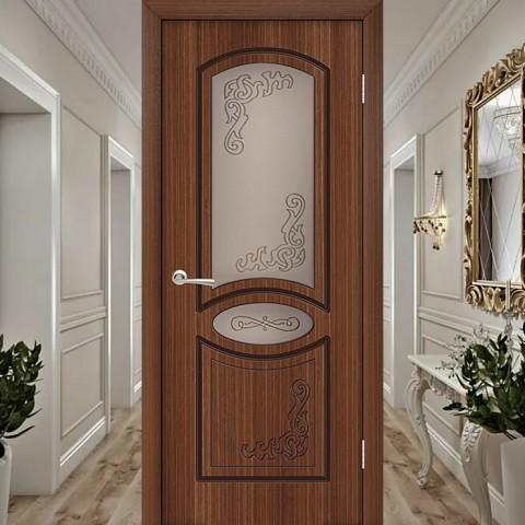 Шпонированная Межкомнатная Дверь Остекленная Муза Орех