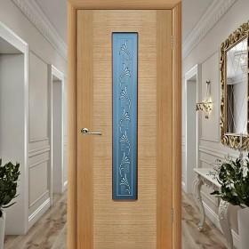 Шпонированная Межкомнатная Дверь Остекленная Рондо Дуб