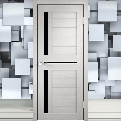 Duplex 3 Лакобель чёрное - Межкомнатная Дверь Velldoris (Твист)