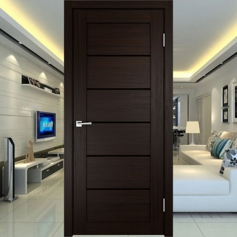 Linea 1 (Лакобель-чёрное) - Межкомнатная Дверь Velldoris